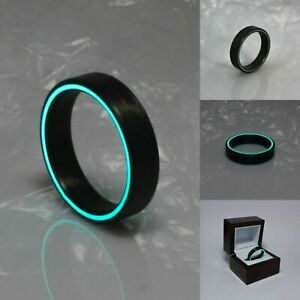 Ring For Men Women's Wedding Band Ring Black Ring Carbon Fiber Glow Ring