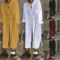 ZANZEA Women High Split Crop Tops Loose Blouse Long Sleeve Shirt Dress Cover Up