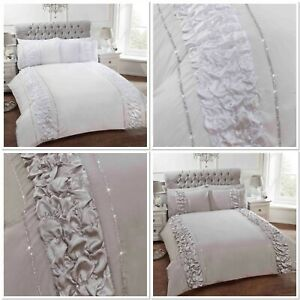 "Rapport Luxury ""Provence"" Ruffles Diamante Duvet Cover Bedding Set White or Grey"