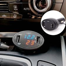 3 in 1 Dual USB Port Car Charger Adapter Cigarette Lighter Temp Meter Voltmeter