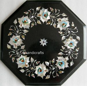 Mother of Pearl Work Inlay Bed End Table Top Octagonal Marble Coffee Table top