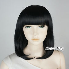 Anime Cosplay Heat Resistant Full Wavy Black Medium 40CM Short Wig With Bang