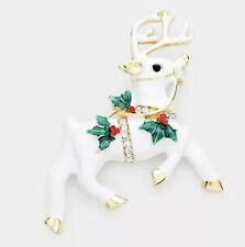 And Rhinestone Gold Tone Brooch Christmas Holiday Elegant Reindeer White Enamel