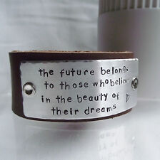 "Real Leather Cuff Bangle Bracelet Handmade Personalised ""The future belongs..."""