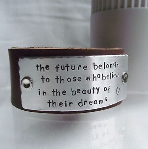 "Real Leather Cuff Bangle Bracelet Handmade Personalised ""The future belongs..."""