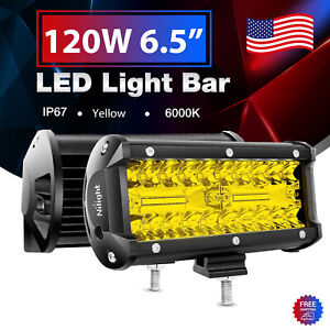 Nilight Amber 2PCS LED Light Bar 6.5Inch 120W Fog Driving Lamps for JEEP Offroad