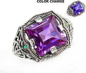 3CT Alexandrite & Opal 925 Sterling Silver Filigree Ring Jewelry Sz 6, UF1
