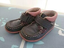 Navy/Pink Girls Clarks 1/2 Boots size 6.5F Hook/Loop strap