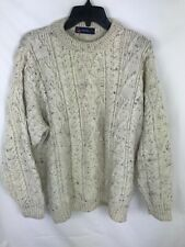 British Wool Naturally 100% Pure Wool Knitted Fishermen Cable Knit Cream Ivory