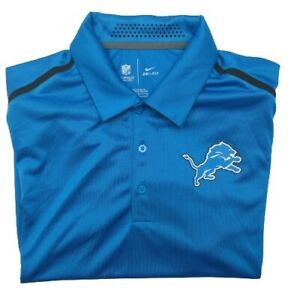Nike Dri Fit Men's Medium Blue Detroit Lions Performance Golf Polo