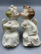 Vintage Boy & Girl Kissing Angels Figurines Japan Starburst Shelf Sitters