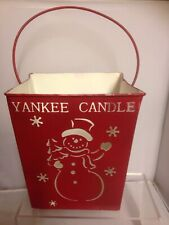 Yankee Candle Metal Snowman Candle holder Red Christmas