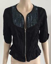 COHEN et SABINE Designer Black dressy beaded jacket silk cotton sz 10