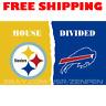Pittsburgh Steelers vs Buffalo Bills House Divided Flag Banner 3x5 ft 2019 NEW