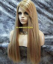 Long Straight Human Hair Blend Blonde Mix Full Wig Heat Ok Hair Piece #F27.613