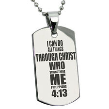 Stainless Steel Philippians 4:13 Cross Design Dog Tag Necklace or Keychain