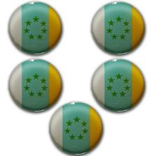 5x Pegatinas 3D Bandera de Canarias 7 Estrellas Verdes Circular