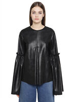 Women Natural Lambskin Leather Top With Bell Sleeve