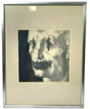 "Joseph Hirsch ""Clown Face"" Signed Lithograph Black and White Framed Print 15x19"