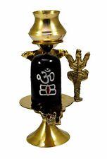 Shaligram Shiva Ling Lingam Shivling Statue Indian Hindu Pooja Brass Stand