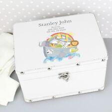 Personalised Noah's Ark Keepsake Leather Box Memory Box New Born Gift