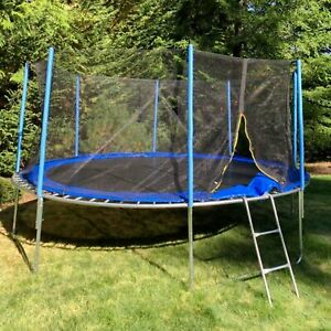 ALEKO Outdoor 14 Foot Trampoline With Safety Net and Ladder Black Blue