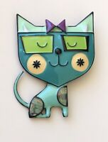 Adorable  artistic  Cat large Pin Brooch in enamel on Metal