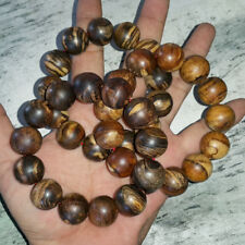 18 MM Zebra Agarwood Bracelet 13 Beads Indonesian Gaharu Buaya Aloeswood