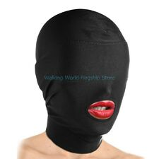 Sexy Slave Fetish Mask Padded Blindfold Open Mouth Facemask Head Hood Restraints