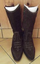 Paire de botte femme en daim/cuir marron pointure 39