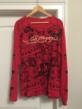 Ed Hardy Mens Red LS Shirt, XL, Pre-Owned