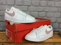 NIKE LADIES UK 5 EU 38.5 WHITE PARTICLE ROSE PINK BLAZER LOW LEATHER TRAINERS