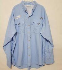 Columbia Pfg Sz Xl Blue Long Sleeve Vented Four Pocket Shirt Men Omnishade Fish