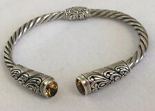 Bali Designs Sterling Silver 925 Citrine Twisted Rope Filigree Cuff Bracelet