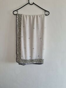 Indian Saree With Ready Made Blouse White And Black Wedding Bollywood Party