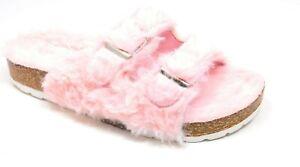 Womens Sandals Double Strap Faux Fur Slippers Double Buckle Open Toe Sandals