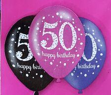 PACK OF 6 PINK, PURPLE & BLACK 50TH HAPPY BIRTHDAY BALLOONS