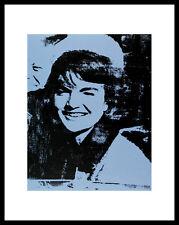 Andy warhol Jackie Blue poster image Art Impression avec Cadre Alu en Noir 36x28cm