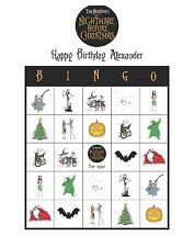 Tim Burton's The Nightmare Before Christmas Birthday Party Game Bingo Cards