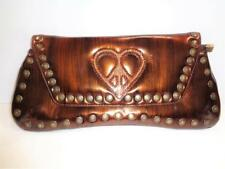 BRIDGET SHUSTER brown swarovski crystals heart peace clutch handbag purse