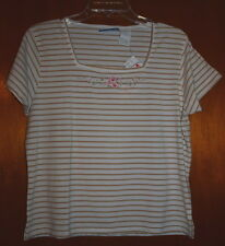 New Erika & Co Top White Beige Stripe Square Neck Embroidered Roses Size Medium