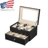 New 20 Slot Watch Box Leather Display Case Organizer Top Glass Jewelry Storage