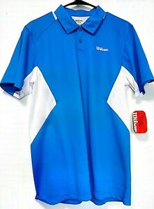 Mens Wilson Polo Shirt Dry-Fit Size Medium Color Blue and White Short Sleeve