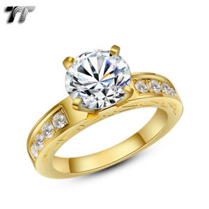 TT Gold Tone Stainless Steel 2 Ct Engagement Wedding Band Ring (R310J)