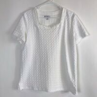 Women's Kim Rogers Short Sleeve White Textured Pattern Square Neck Blouse XL