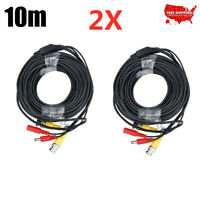 2x 33ft HD CCTV Video Power Extend Cable BNC RCA Cord Security Camera DVR Wire