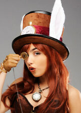 Adults Brown Deluxe Mad Hatter Hat - Fancy Dress Mens Ladies Wonderland Costume