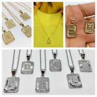 Square Stainless Steel Initial Necklace l FREE UK SHIPPING l Letter Gold Silver