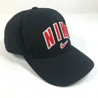 Nike Dad Hat Cap Black Swoosh Red White Spellout Logo White Logo Adjustable