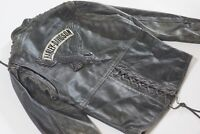 Harley Davidson Women's Corral Distressed Leather Studded Eagle Jacket Laces S
